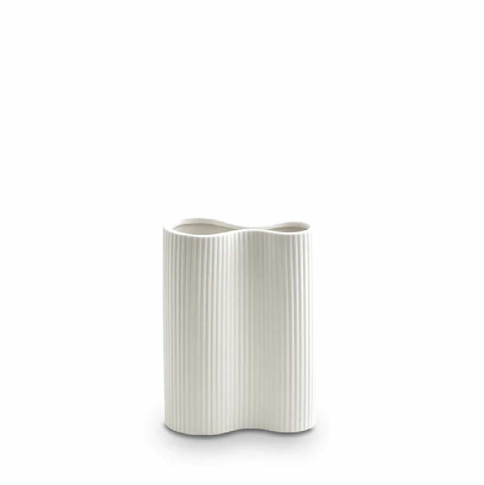 Small Ribbed Infinity Vase - Snow