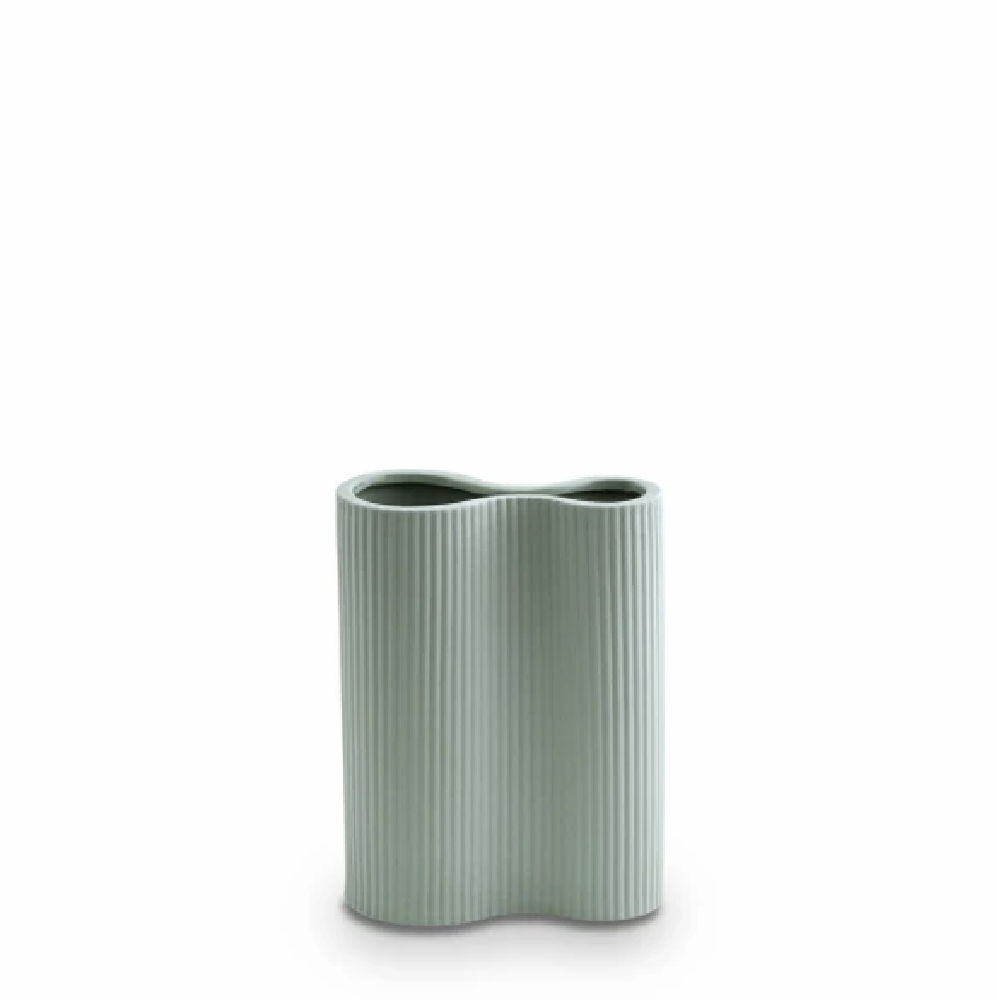 Small Ribbed Infinity Vase - Blue