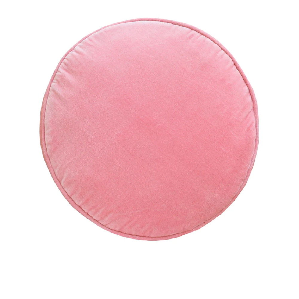 CASTLE Penny Round Cushion - Baby Pink Velvet