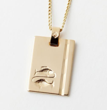 Gold Star Sign Necklace - Pisces