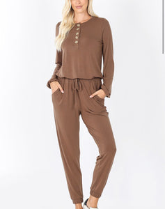 Long Sleeve Boho Button Jumpsuit - Mocha