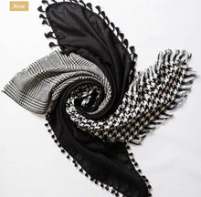 Load image into Gallery viewer, Black Houndstooth Pattern Scarf