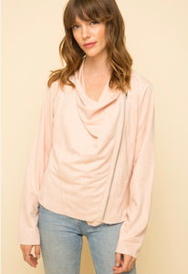 Center of Attention Suede Draped Jacket - Blush