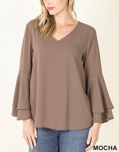 Dress It Up Bell Sleeve Blouse - Mocha
