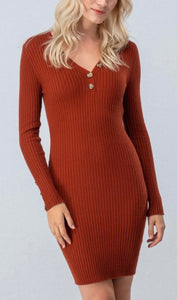 Dream Girl Fitted Dress - Rust