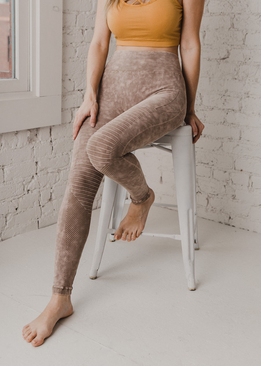 Moto Leggings - Tan