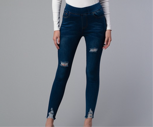 Shark Bite Bottom Denim Jeggings