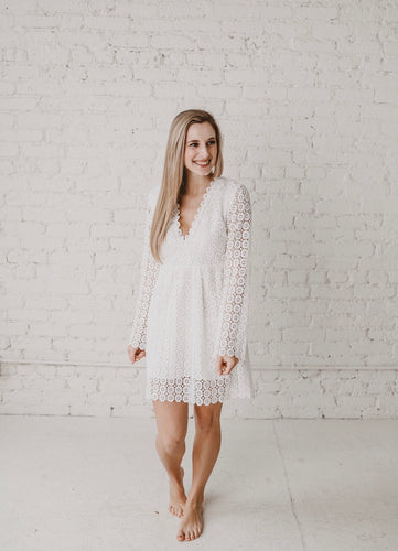 Believed She Could Bell Sleeve Lace Dress