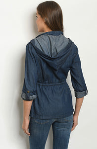 Denim dress jacket dark wash