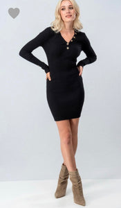 Dream Girl Fitted Dress - Black