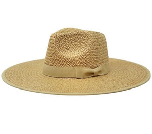 Toffee Wide Brim Straw Rancher Hat - Olive & Pique