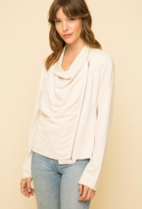 Center of Attention Suede Draped Jacket - Beige