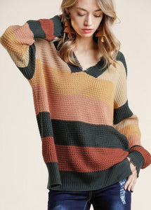 Unfinished Knit Sweater - Navy/Mustard