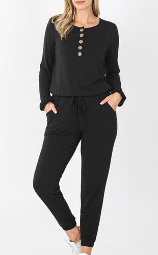 Long Sleeve Boho Button Jumpsuit - Black