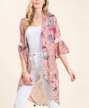 Load image into Gallery viewer, Rose' All Day Floral Hi-low Kimono