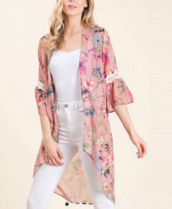 Rose' All Day Floral Hi-low Kimono