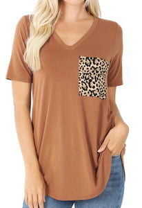 Casual Leopard Pocket Tee - Deep Camel