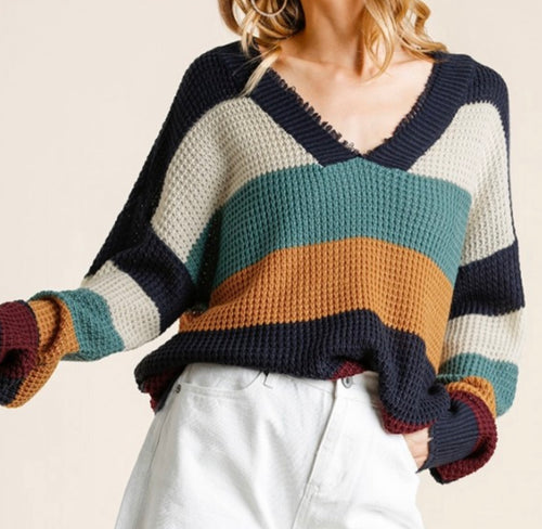 Unfinished Knit Sweater - Navy/Light Blue