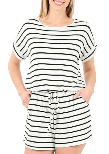 Striped Casual Romper - White
