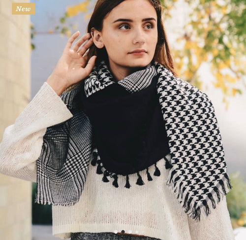 Black Houndstooth Pattern Scarf