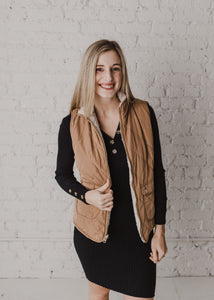 No Doubts Reversible Faux Fur Vest - Camel