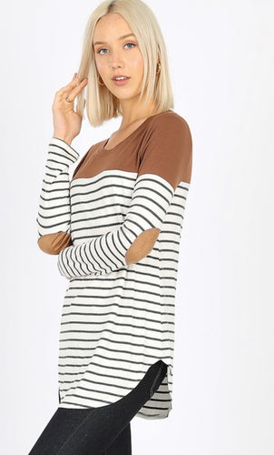 Kenzie Stripe Elbow Patch Top - Brown