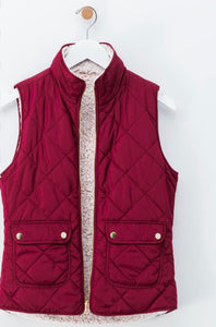 No Doubts Reversible Faux Fur Vest - Burgundy