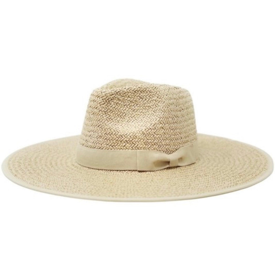 Natural Wide Brim Straw Rancher Hat - Olive & Pique