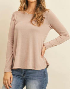 Round Neck Long Sleeve Tee - Blush