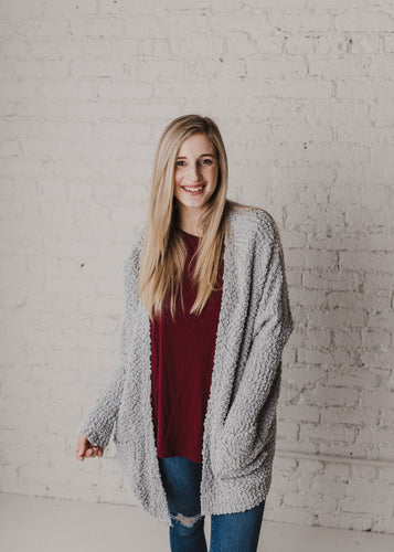 Let's Stay Home Popcorn Cardigan - Grey