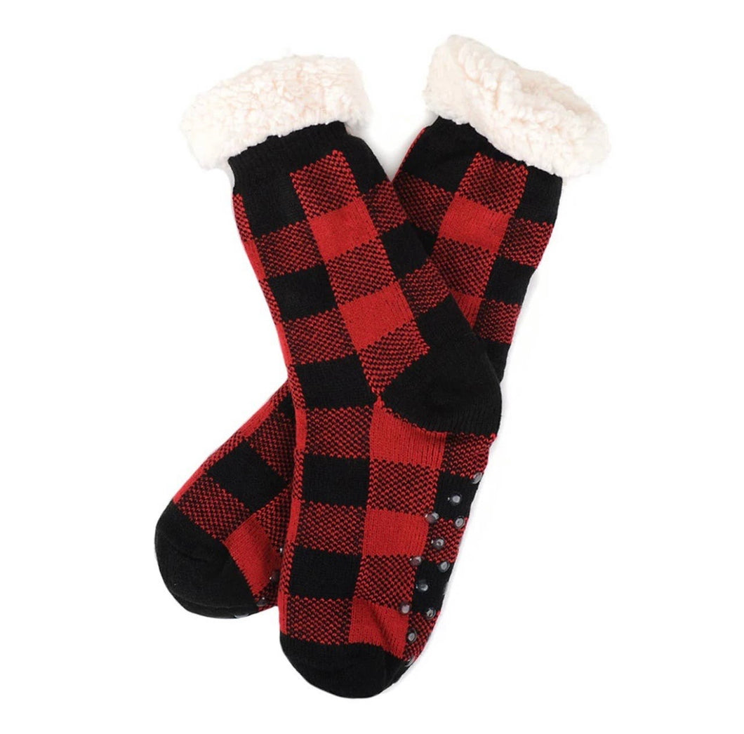 Plush Fleece lined Sherpa Slipper Socks - Red Plaid