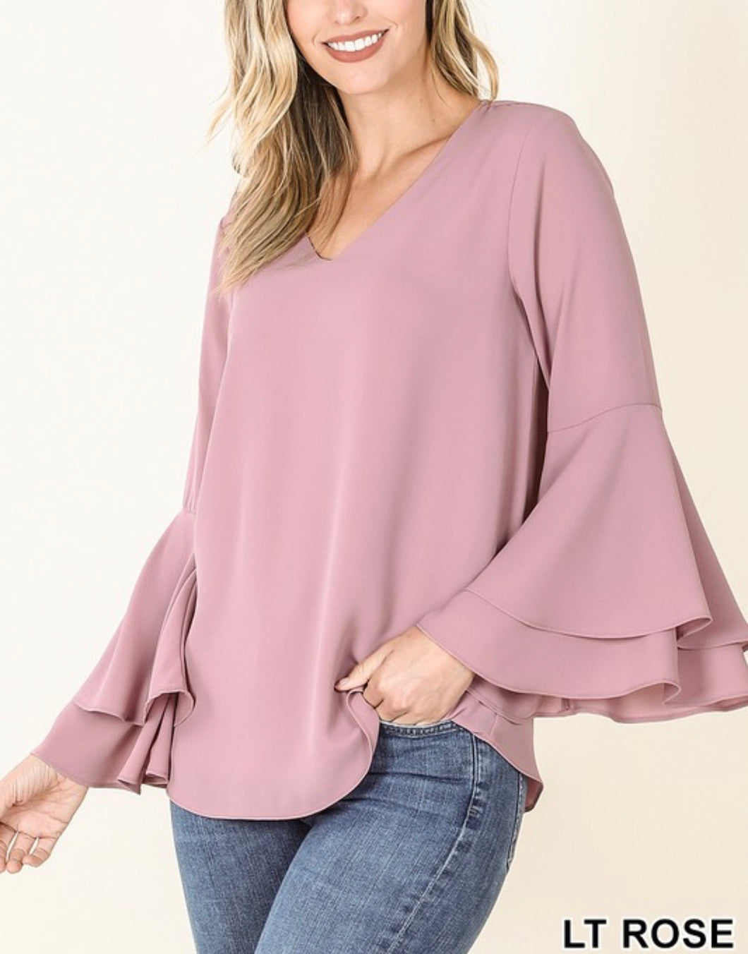 Dress It Up Bell Sleeve Blouse - Rose