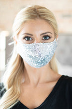 Load image into Gallery viewer, ZZZ Silver Sequin mask