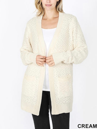 All Day Everyday Popcorn Cardigan - Cream
