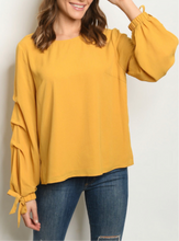Load image into Gallery viewer, Make Me Happy Mustard Blouse