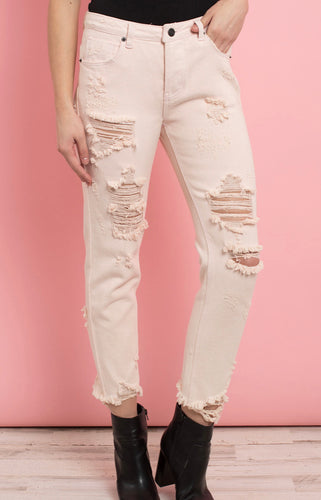 Cropped Ripped Jeans - Light Pink