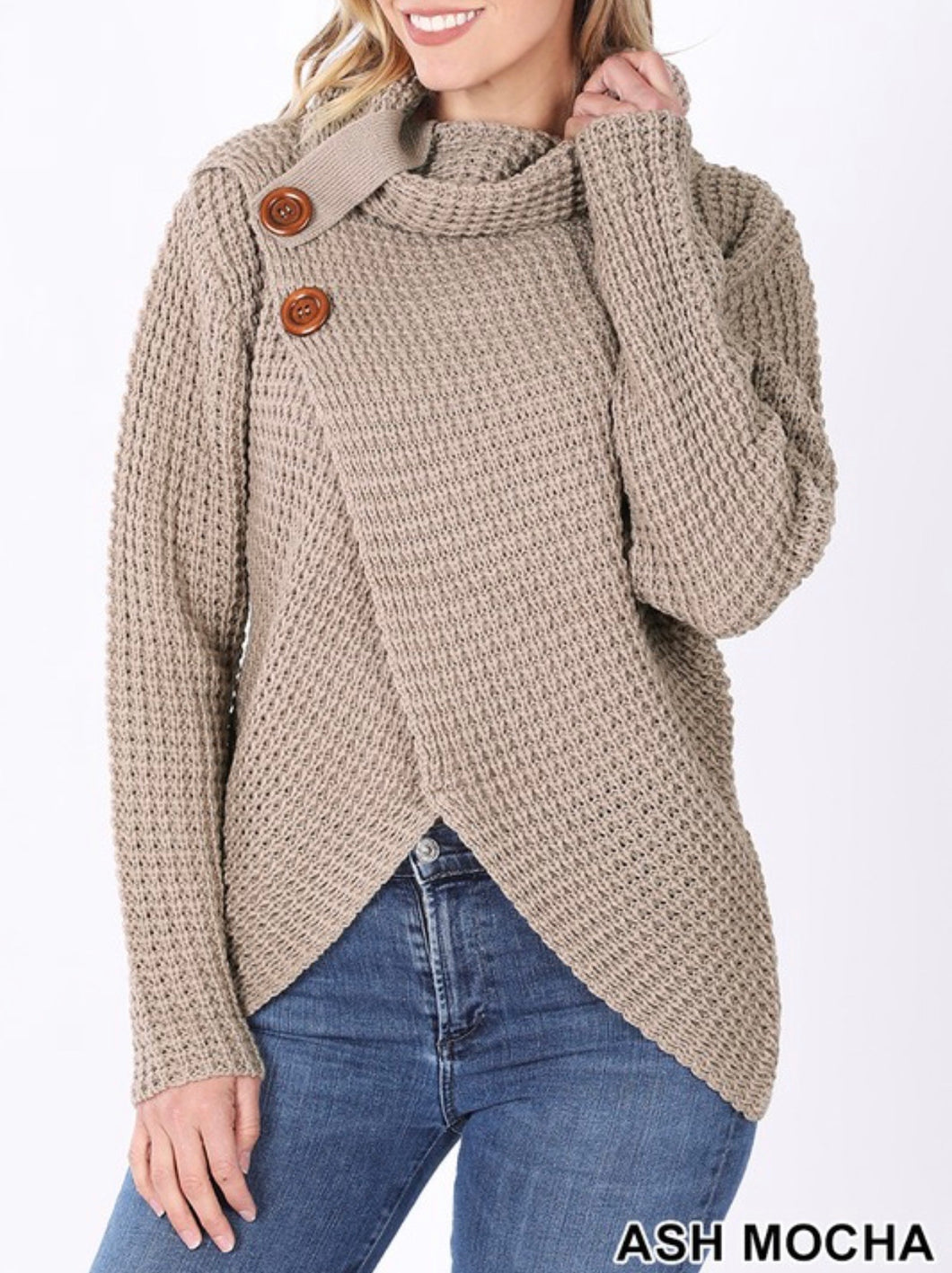 Autumn Leaves Cowl Neck Sweater - Mocha
