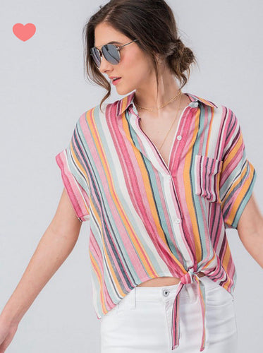 Sunny Stripes Button Tee 20%