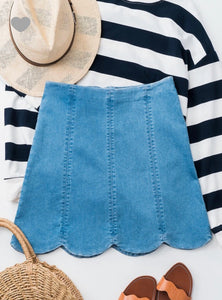 release date structural disablities extremely unique Darla Scallop Denim Skirt