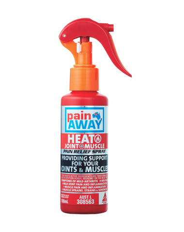 1 x PAIN AWAY HEAT JOINT & MUSCLE <br> PAIN RELIEF SPRAY 100ML