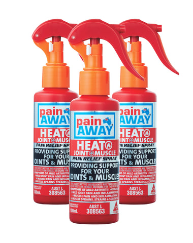 3 x PAIN AWAY HEAT - JOINT & MUSCLE <br> PAIN RELIEF SPRAY 100ML