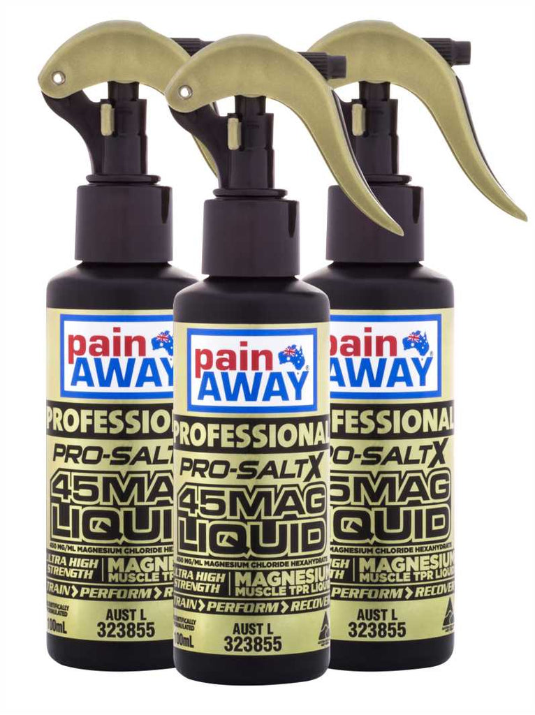 3 x PAIN AWAY PROFESSIONAL PRO-SALT X 45MAG LIQUID SPRAY 100ML