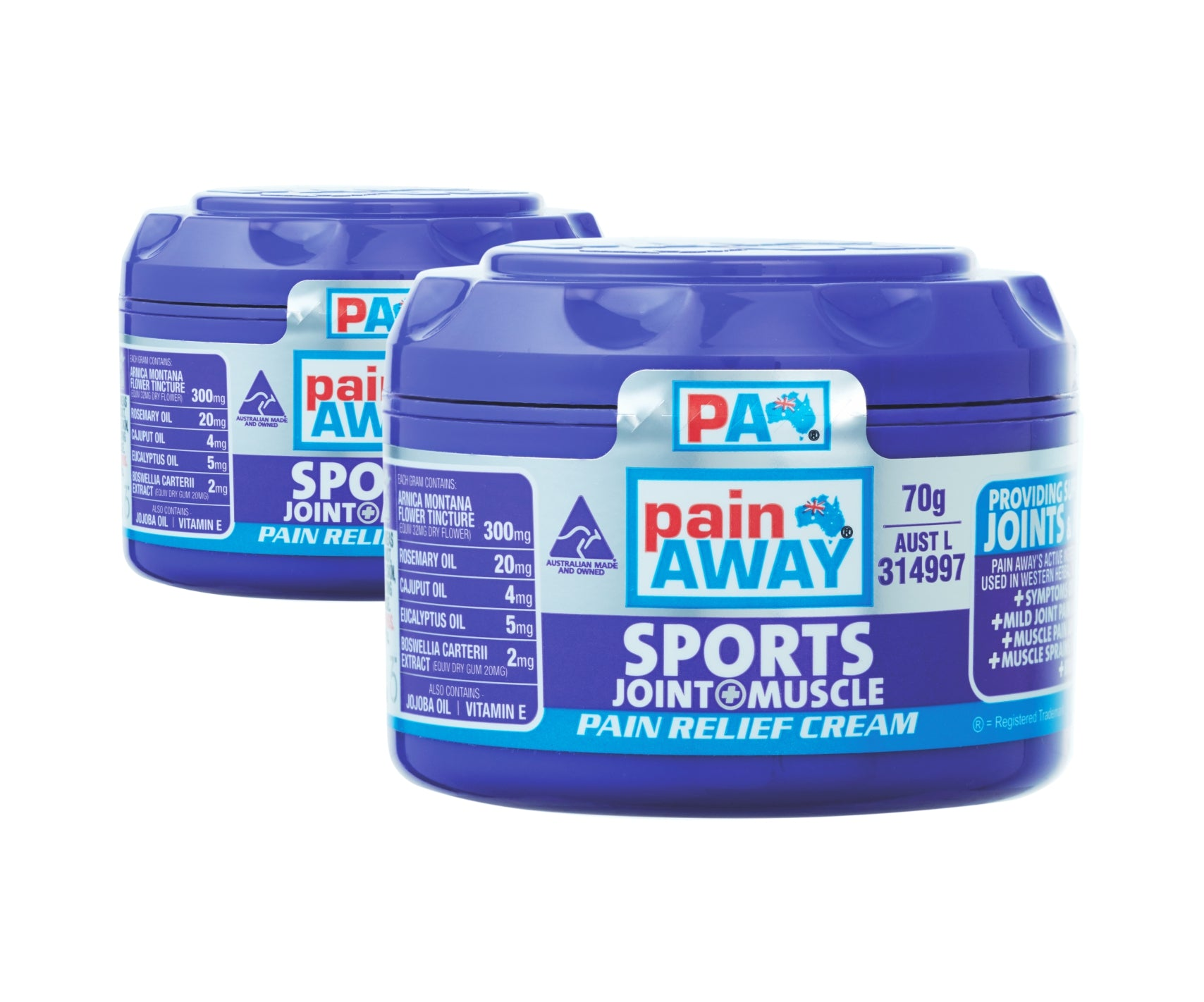 2 x PAIN AWAY SPORTS - JOINT & MUSCLE PAIN RELIEF <br> CREAM 70G