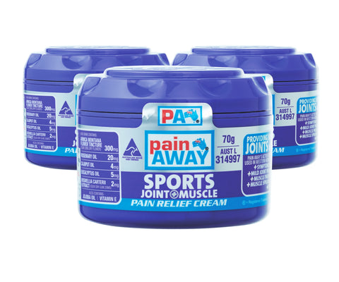 3 x PAIN AWAY SPORTS - JOINT & MUSCLE <br> PAIN RELIEF CREAM 70G
