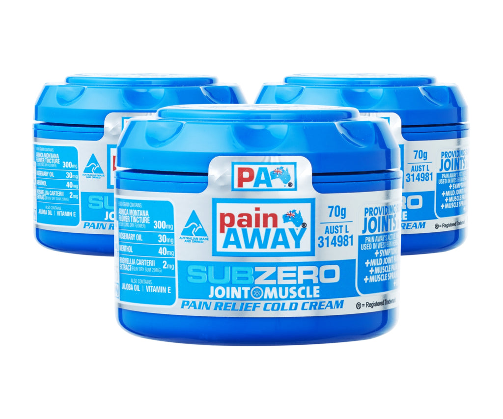 3 x  PAIN AWAY SUB ZERO - JOINT & MUSCLE PAIN RELIEF COLD <br> CREAM 70G