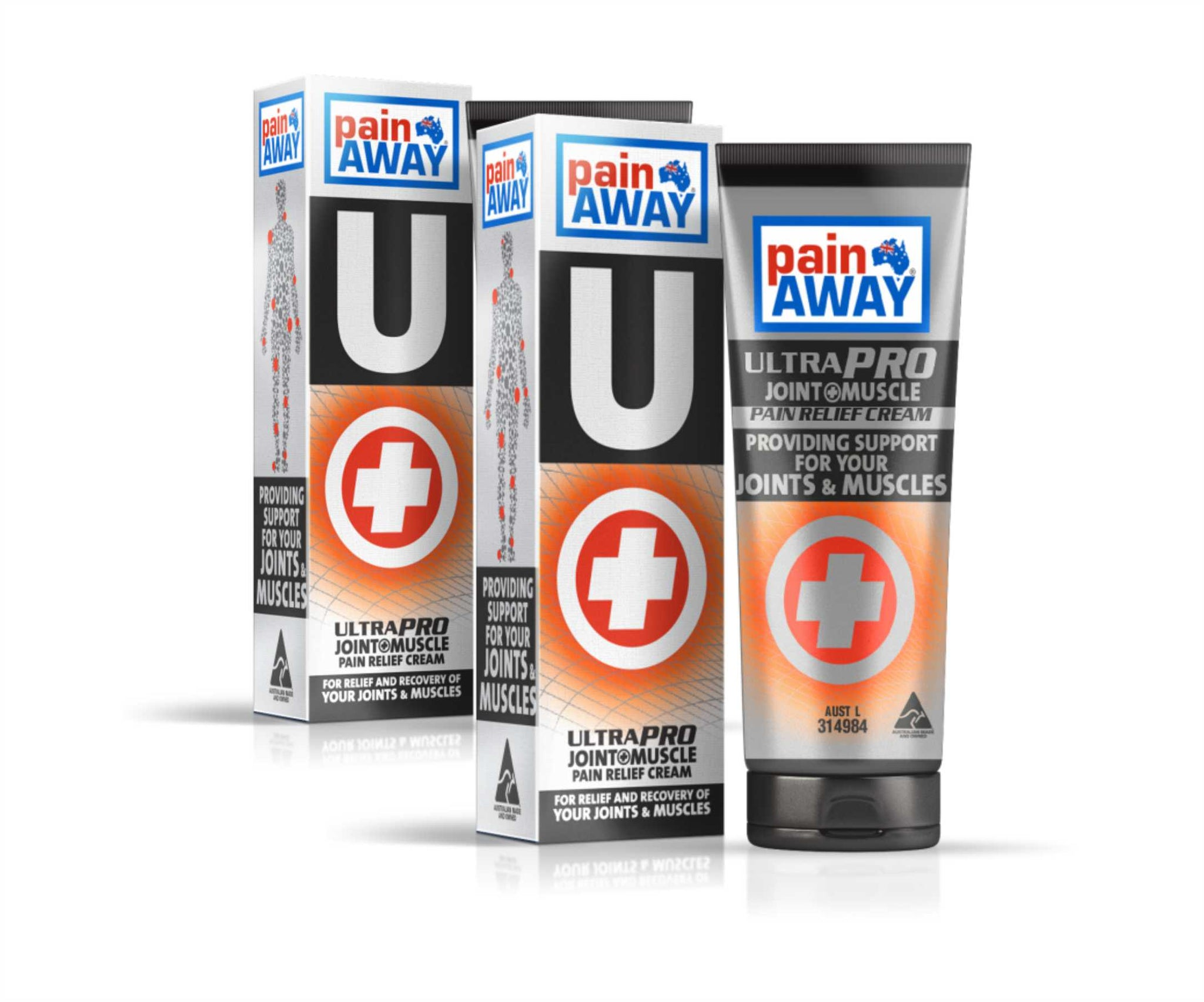 2 x PAIN AWAY ULTRA PRO - JOINT & MUSCLE<BR> PAIN RELIEF CREAM 125G TUBE