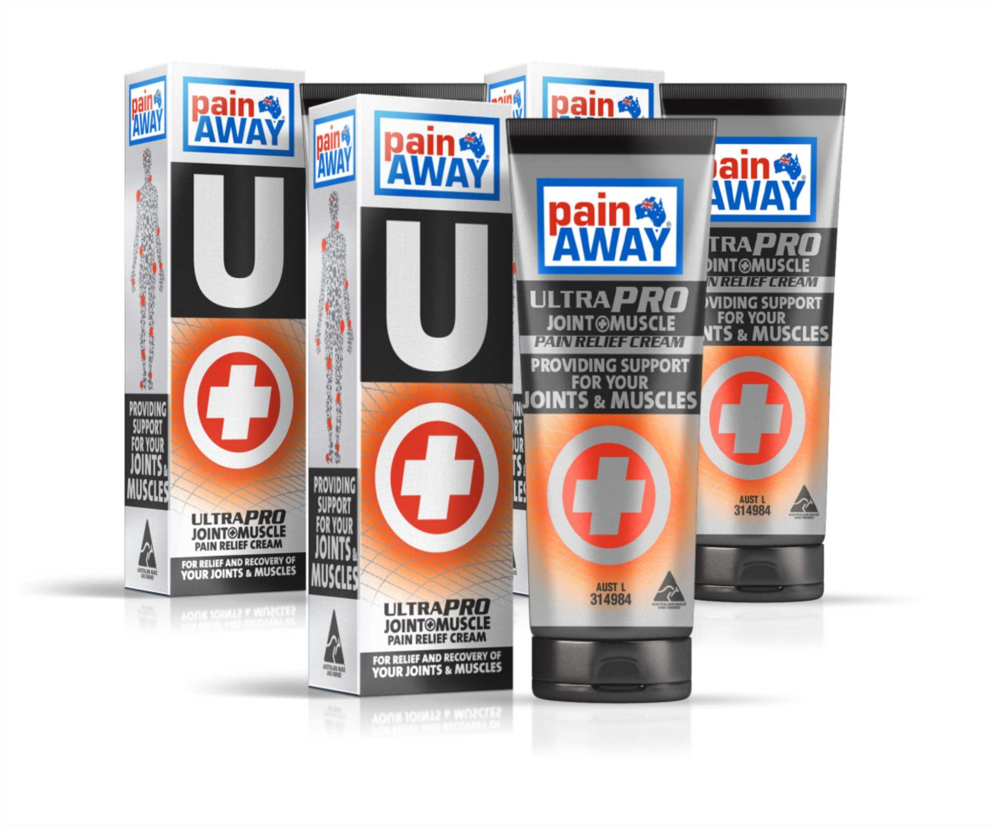 3 x  PAIN AWAY ULTRA PRO - JOINT & MUSCLE<BR> PAIN RELIEF CREAM 125G TUBE