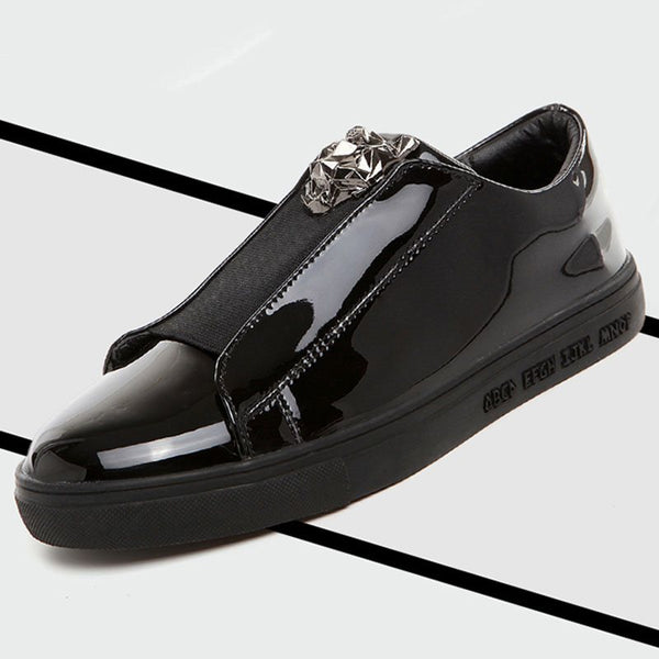Patent Leather Thread Decoration Men's Loafers