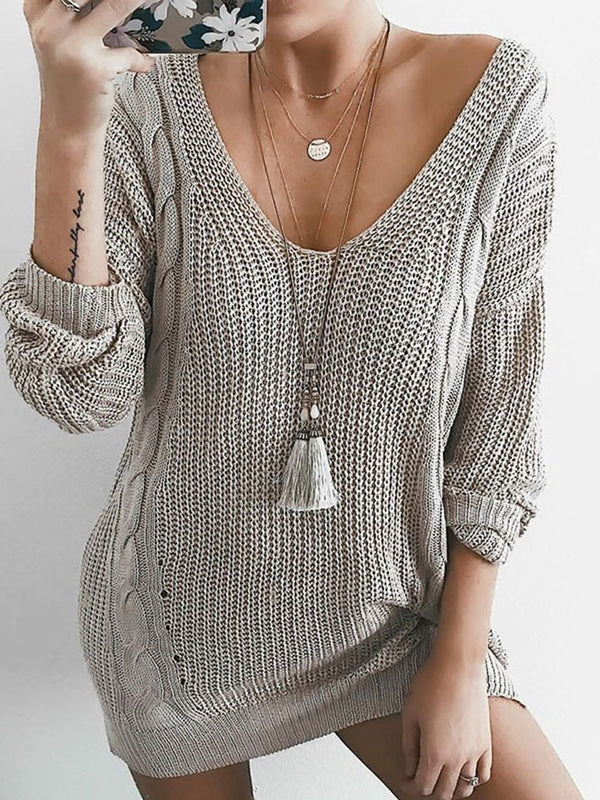 Pull Femme Col Rond Manches Longues Unicolore