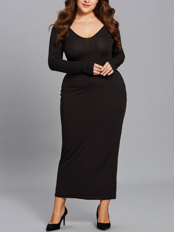 Robe Pull Col Rond Encolure Bateau Manches Longue Grande Taille